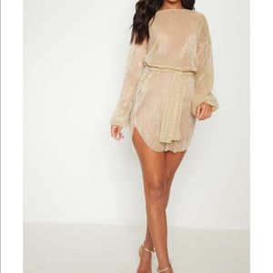 Gold PrettyLittleThing Balloon Sleeve Dress